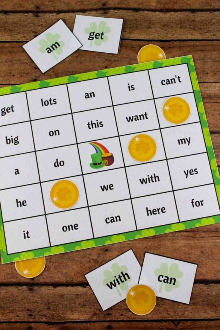 St. Patrick's Day Bingo with Sight Words Free Printable
