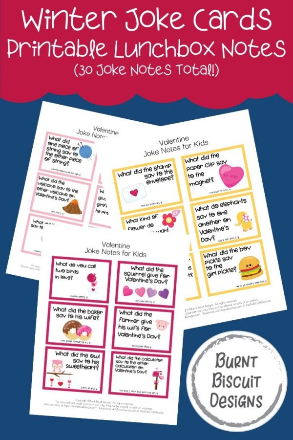 Valentine's Day Joke Cards - Printable Lunchbox Notes for Kids with 30 Joke Cards in All -Burnt Biscuit Designs