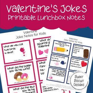 Valentine's Day Jokes Printable Lunchbox Jokes -Burnt Biscuit Designs