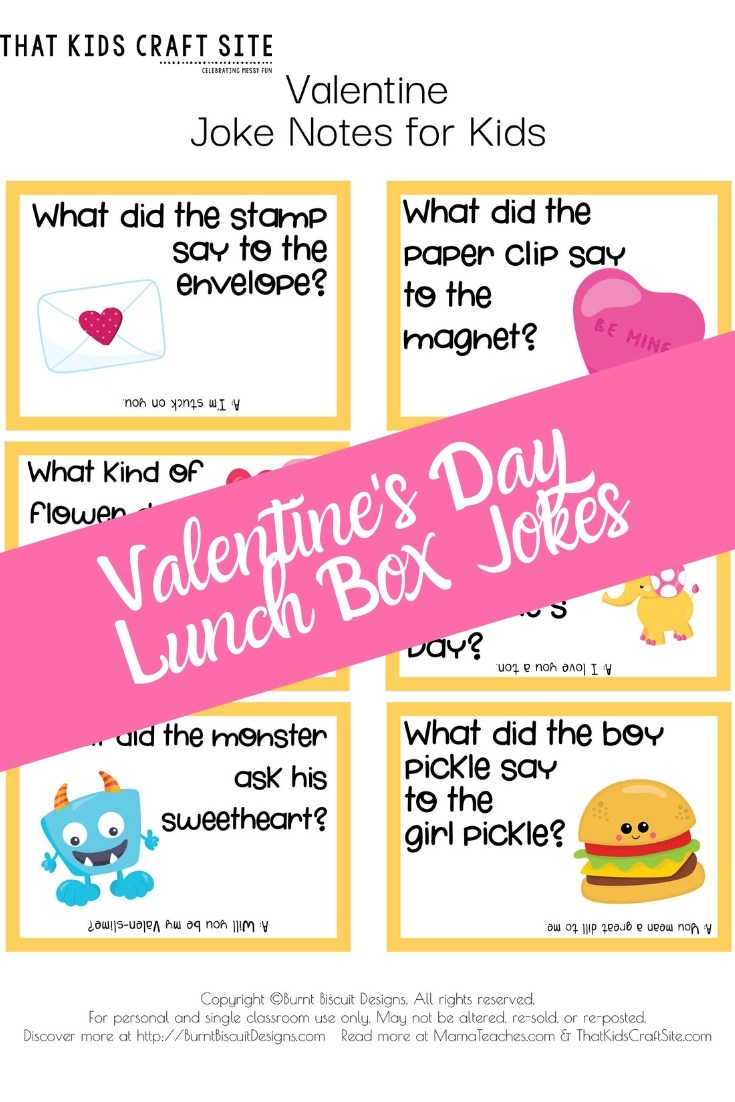 Free Printable Kid's Valentine's Lunch Box Jokes   - ThatKidsCraftSite