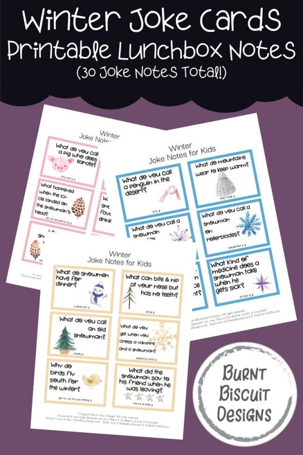 Winter Joke Cards - Printable Lunchbox Notes for Kids with 30 Joke Cards in All -Burnt Biscuit Designs