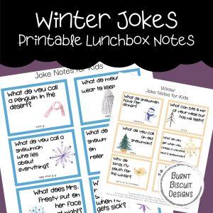 Winter Jokes Printable Lunchbox Jokes -Burnt Biscuit Designs