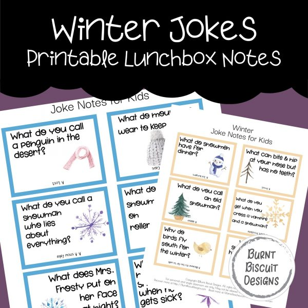 Winter Jokes Printable Lunchbox Jokes -Burnt Biscuit Designs