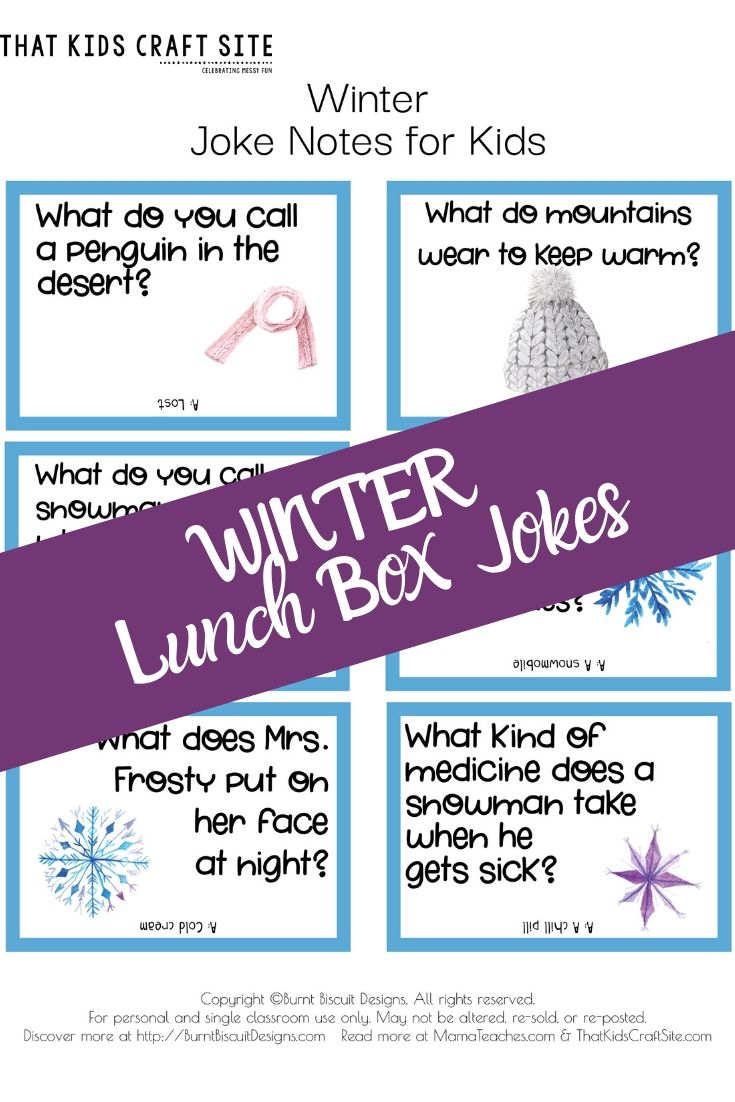 Free Printable Winter Lunch Box Jokes for Kids - ThatKidsCraftSite.com