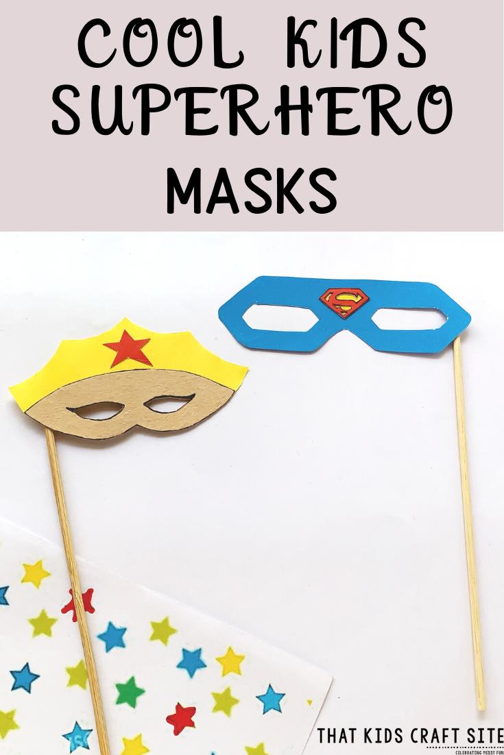 Cool Kids Superhero Masks Craft for Kids - Make a Superman or Wonder Woman Mask! - ThatKidsCraftSite.com