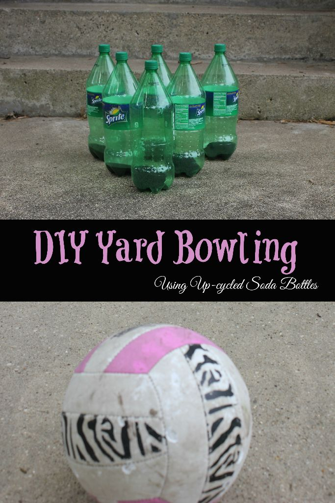 DIY Yard Bowling Set out of Recycled Soda Bottles