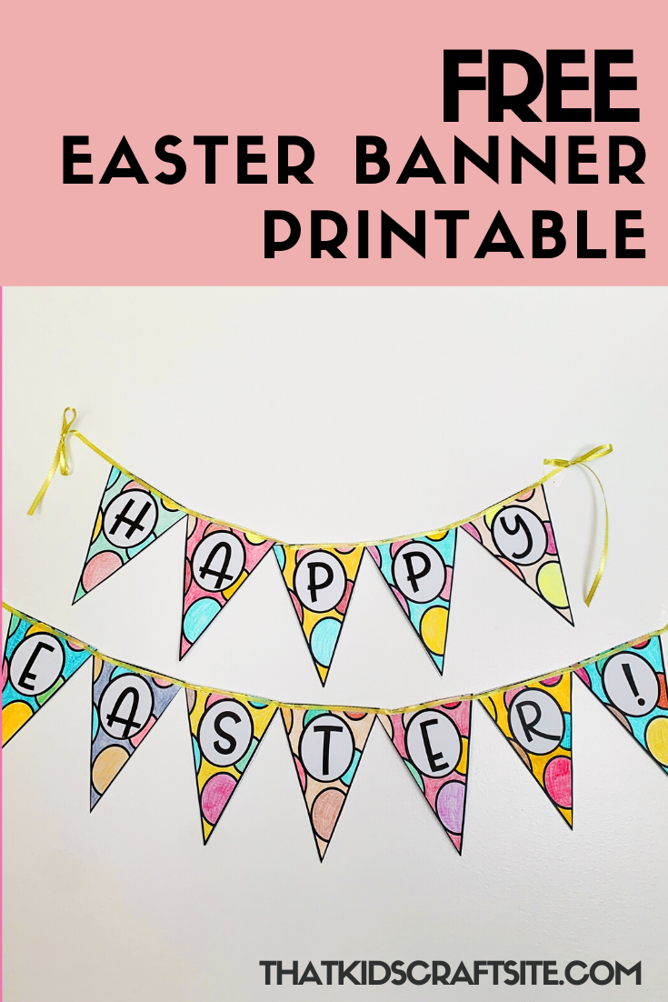 Free Printable Easter Banner to Color - ThatKidsCraftSite.com