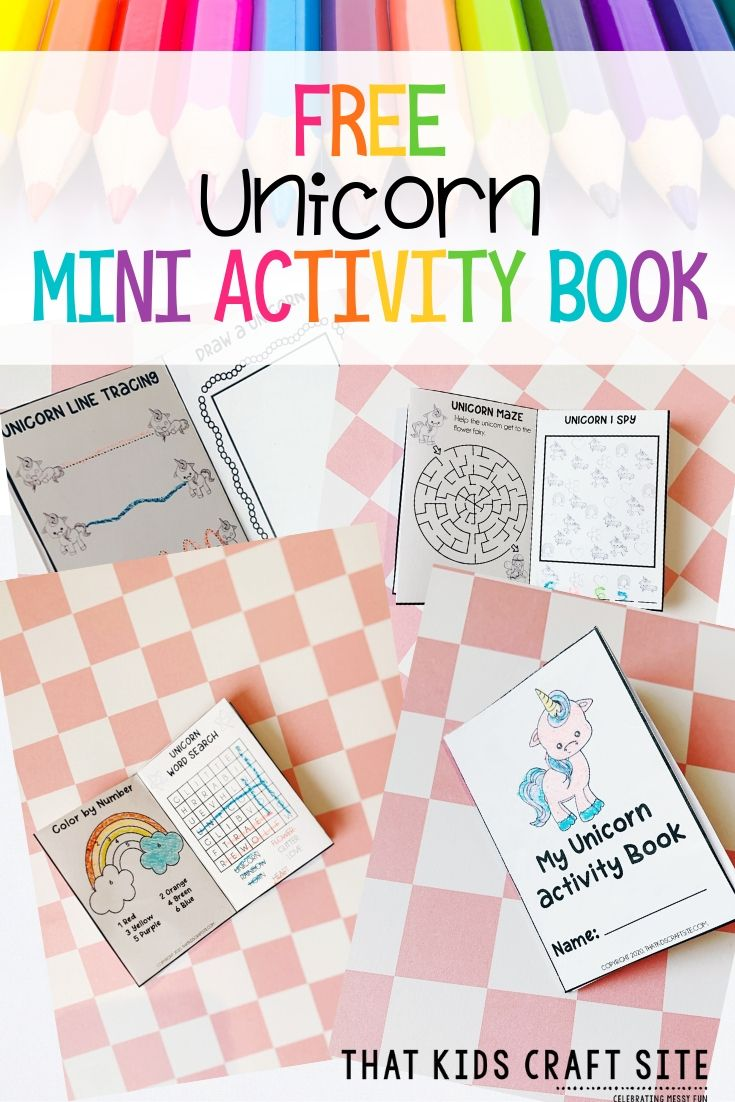 Free Mini Unicorn Activity Book - a Free Unicorn Coloring Sheet for Kids - ThatKidsCraftSite.com