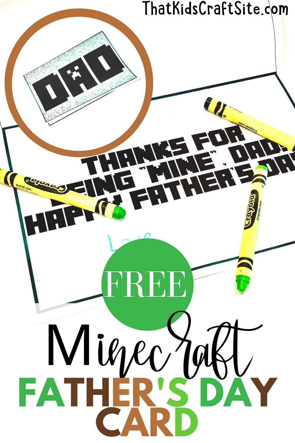 Free Minecraft Father's Day Card for Kids from That Kids' Craft Site
