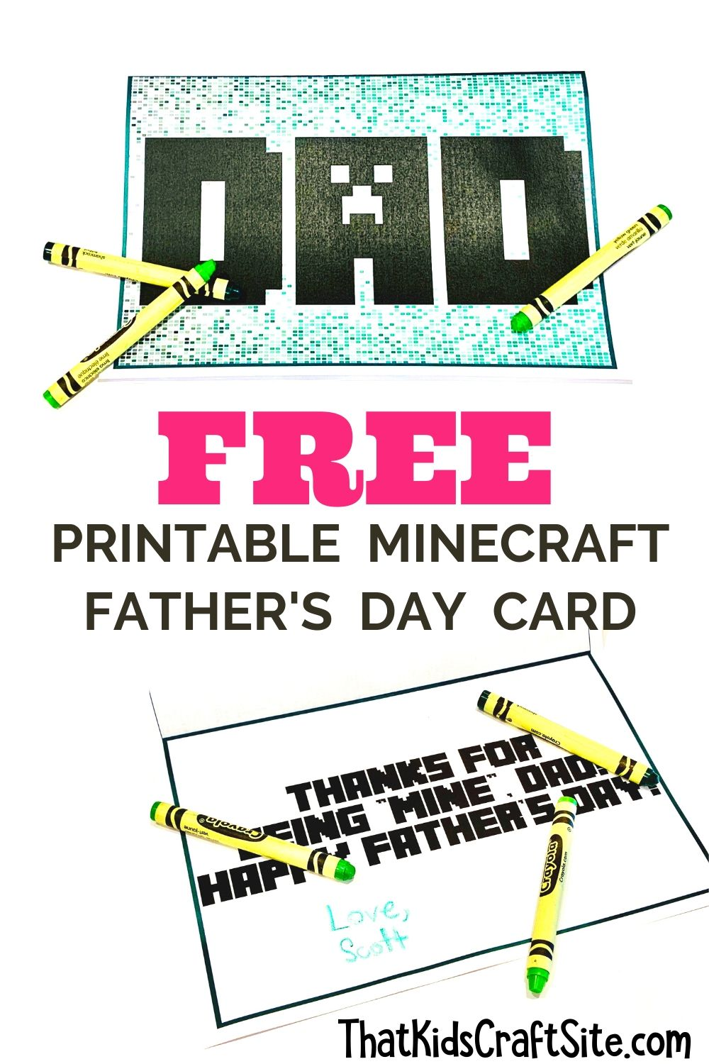 Free Printable Minecraft Father's Day Card