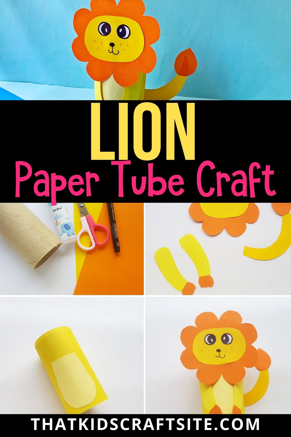 Lion Paper Tube Craft for Kids