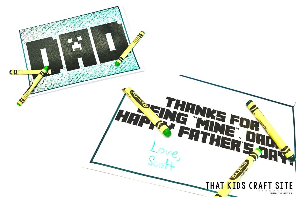 Minecraft Father's Day Card Printable