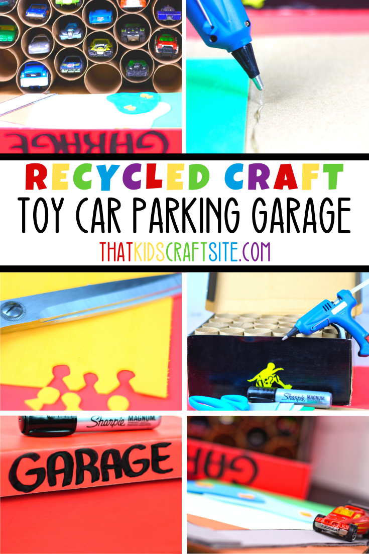 Toy Car Parking Garage Recycled Craft Using Toilet Paper Tubes and Shoe Boxes