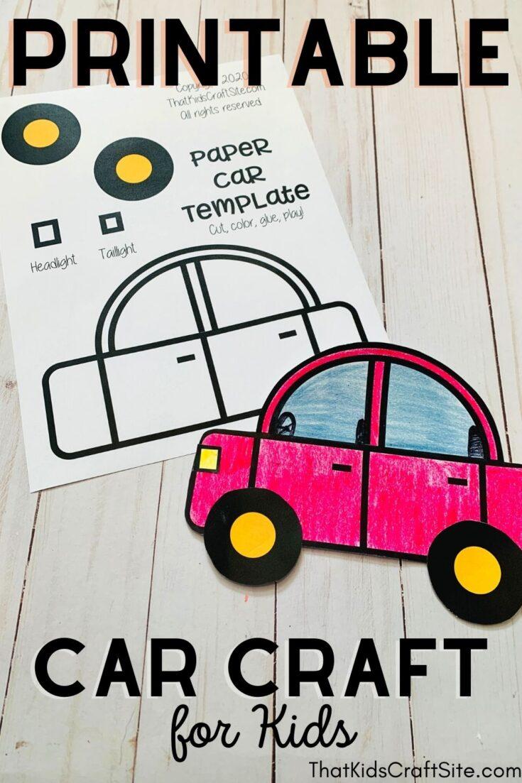 Printable Car Craft for Kids - Great for Letter C Crafts for Preschoolers